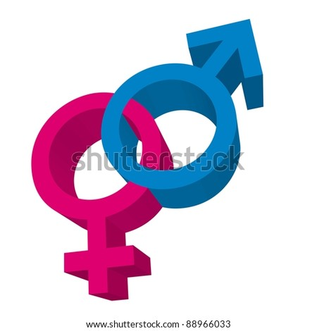 3d men and women signs isolated. vector illustration