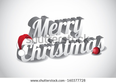 3D Merry Christmas Words wearing a Santa hat. EPS 10 vector, grouped for easy editing. No open shapes or paths. - stock vector