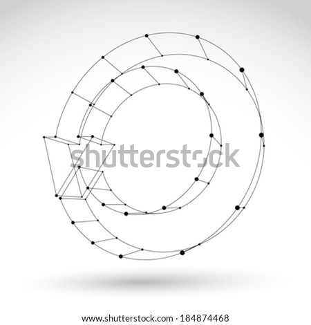 3d mesh black stylish web update symbol isolated on white background, colorless elegant renew icon, dimensional tech refresh sign, monochrome clear eps 8 vector illustration. - stock vector