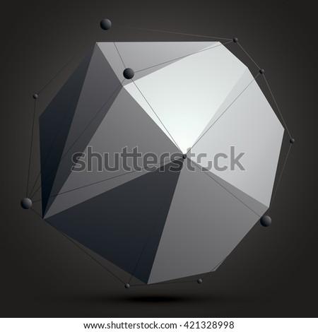 3D mesh contemporary technology abstract object, lattice futuristic form with wire mesh. Futuristic design. - stock vector