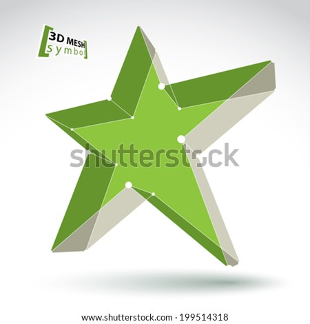 3d mesh green star sign isolated on white background, colorful elegant lattice superstar icon, dimensional tech pentagonal object with white connected lines,vector illustration, pop star icon. - stock vector