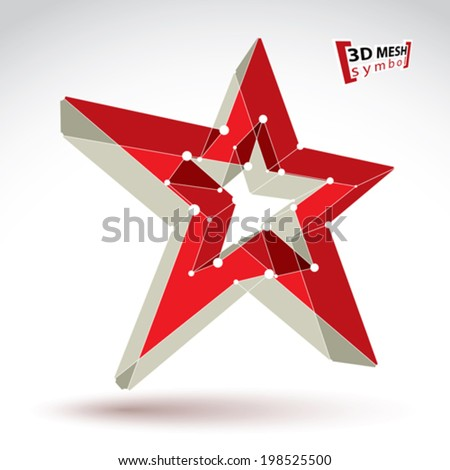3d mesh soviet red star sign isolated on white background, colorful elegant lattice superstar icon, dimensional tech USSR symbol, bright clear eps 8 vector illustration, pop star icon. - stock vector