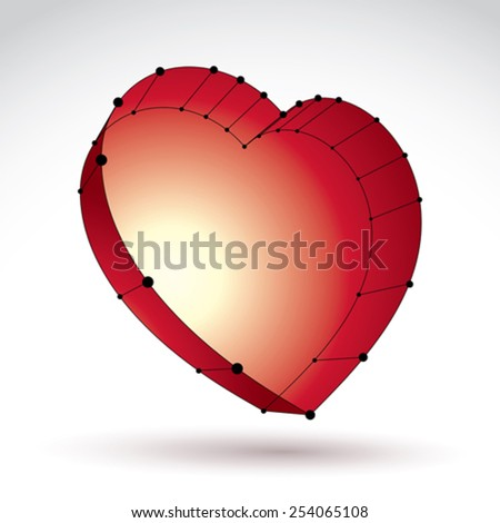 3d mesh stylish web red love heart sign isolated on white background, loving heart icon, dimensional sketch tech cardiology symbol with black lines, bright clear eps 8 vector illustration - stock vector