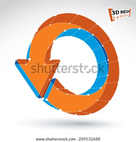 3d mesh stylish web update sign isolated on white background, colorful lattice renew icon, dimensional tech refresh symbol, bright clear eps 8 vector illustration. - stock vector