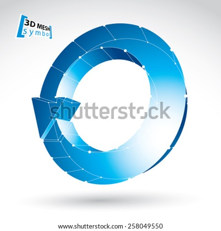 3d mesh update sign isolated on white background, lattice colorful renew icon, blue dimensional tech refresh symbol with white connected lines, clear eps 8 vector illustration. - stock vector