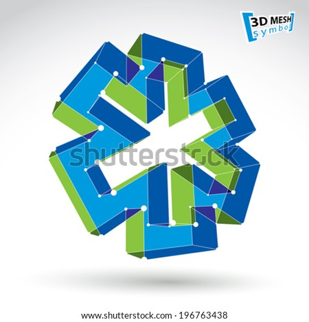 3d mesh web ambulance icon isolated on white background, colorful overlap medicine symbol, dimensional tech emergency object, clear eps 8 vector illustration, bright perspective medical cross icon. - stock vector
