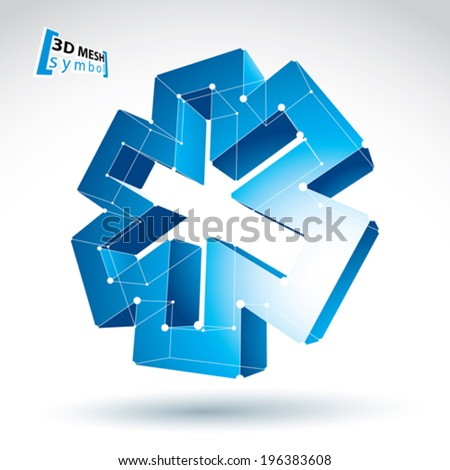 3d mesh web blue ambulance icon isolated on white background, colorful lattice medicine symbol, dimensional tech emergency object with white connected lines, clear eps 8 vector illustration. - stock vector