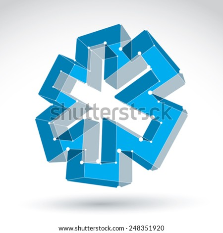 3d mesh web blue ambulance icon isolated on white background, colorful lattice overlap medicine symbol, tech emergency object with white connected lines, vector illustration, medical cross icon. - stock vector