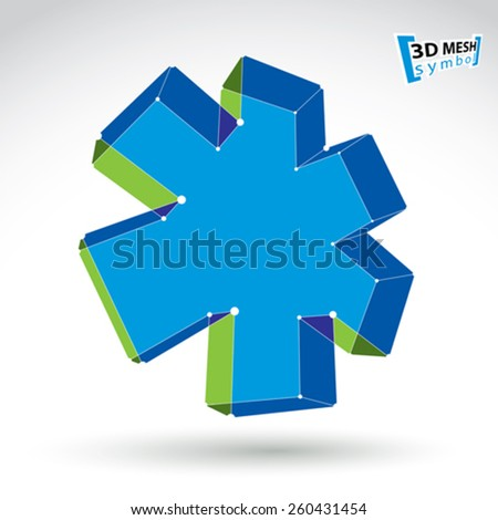 3d mesh web green and blue ambulance icon isolated on white background, colorful overlap medicine symbol, dimensional tech emergency object, clear eps 8 vector illustration - stock vector