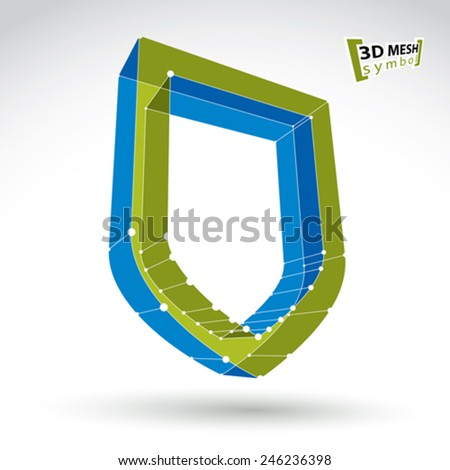3d mesh web green security icon isolated on white background, colorful ecology shield symbol, dimensional tech protection object, clear eps 8 vector illustration, bright perspective antivirus icon. - stock vector