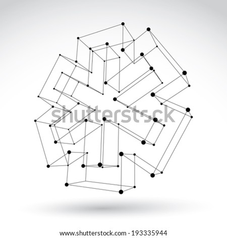 3d mesh web monochrome ambulance icon isolated on white background, black and white medicine symbol, dimensional sketch tech emergency object, clear eps 8 vector illustration. - stock vector
