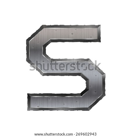 3d metal letter S isolated on white background
