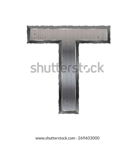 3d metal letter T isolated on white background