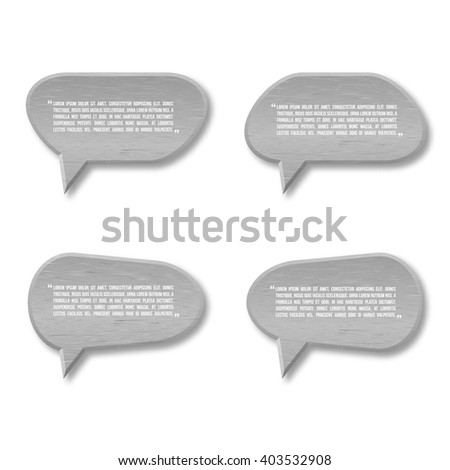 3d metal plate speech bubble icon for text quote. Vector blank template - stock vector