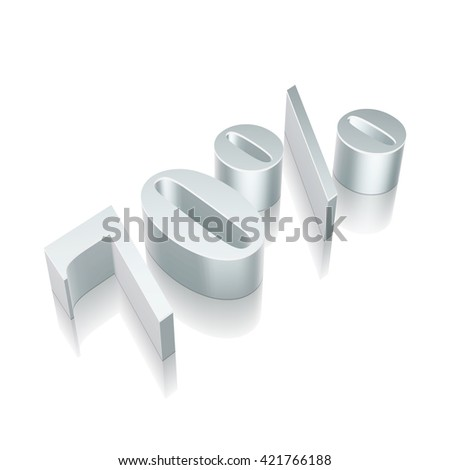 3d metallic character 70% with reflection on White background, EPS 10 vector illustration. - stock vector