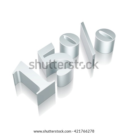 3d metallic character 15% with reflection on White background, EPS 10 vector illustration.