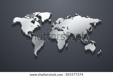3D Metallic Silver World Map (EPS10 Vector) - stock vector