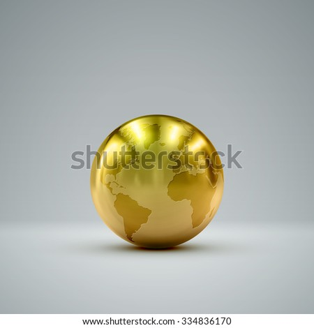 3D metallic sphere with reflections. Vector realistic illustration with golden globe - stock vector