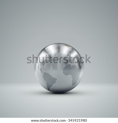 3D metallic sphere with reflections. Vector realistic illustration with silver globe - stock vector