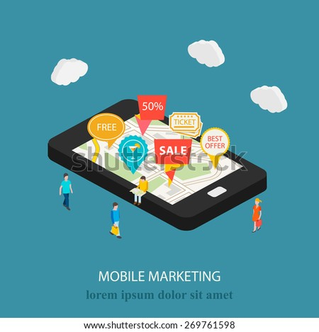 3d mobile digital marketing concept. Isometric smartphone with map and tags. Tiny people with shopping bags, purchases. Vector illustration - stock vector