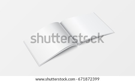 3 d mock open book template perspective stock vector 671872399