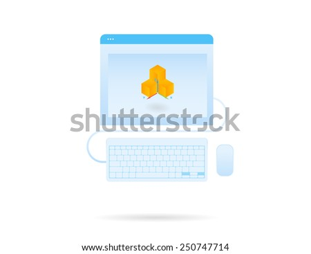3d modeling on the computer screen. Vector icon isolated on white - stock vector