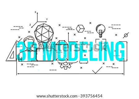 3d modeling proces illustration . Line icons set . Line flat style . Vector background . 3d modeling expert / specialist . - stock vector