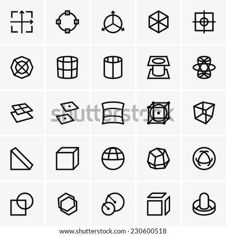 3d modelling icons - stock vector