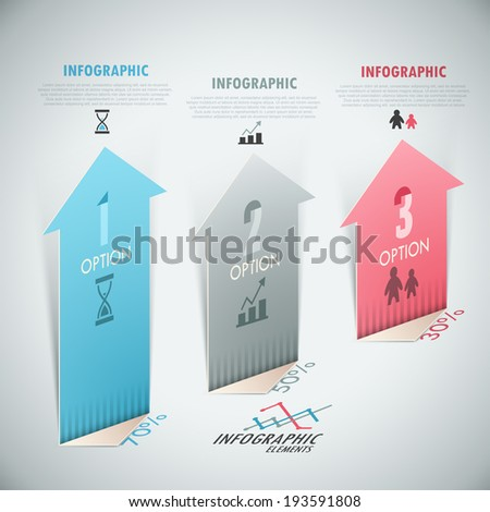 3d Modern infographics options banner with realistic arrows. - stock vector