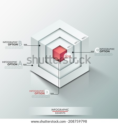 3d Modern infographics options banner with realistic cube divided into 4 options. Vector. Can be used for web design and  workflow layout - stock vector