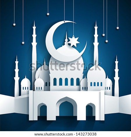 3d mosque and crescent moon with stars - Ramadan Kareem or Ramazan Kareem background - paper craft style - vector - stock vector