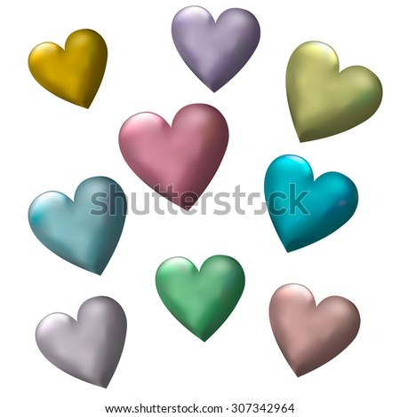 3D Multicolor Hearts  white background - stock vector