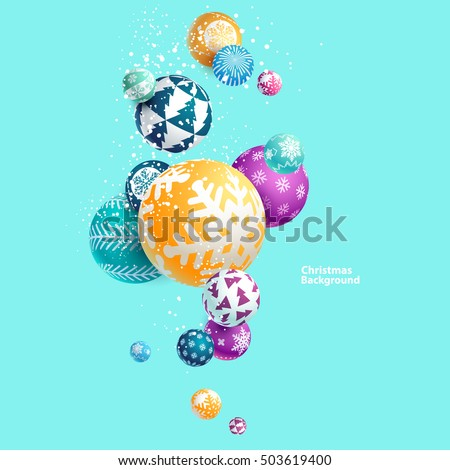 3d multicolored Christmas balls. New year background.
