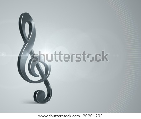 3d Music note and light effects vector background. Eps 10 - stock vector