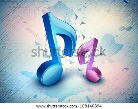 3D music notes on colorful grungy background. EPS 10. - stock vector