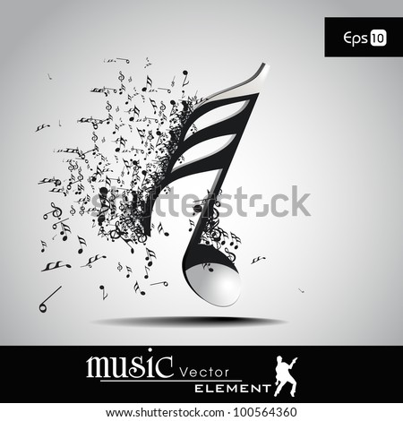 3D musical notes with burst effect. EPS 10, can be use as banner, tag, icon, sticker, flyer or poster. Vector illustration in EPS 10. - stock vector