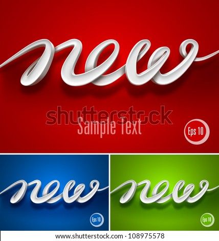 3d New typography. Vector