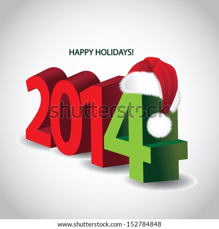 2014 3D New Year holiday Christmas card design. EPS 10 vector, grouped for easy editing. No open shapes or paths. - stock vector
