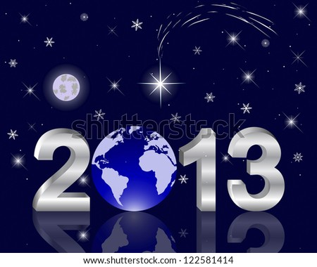 3d 2013 New Year with a globe against the night sky with a star of Bethlehem. Vector illustration. - stock vector
