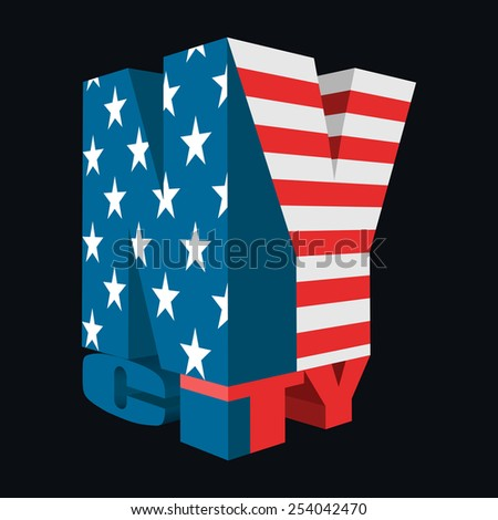3D New York City Icon, USA Flag Colors, Vector Design, T-Shirt Typography - stock vector