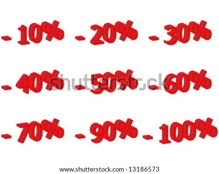 3d number for discount - vector illustration - stock vector