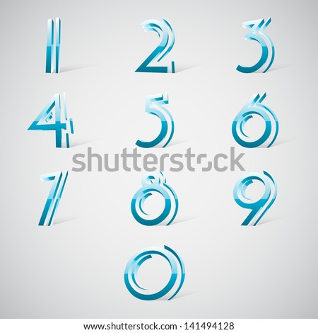 3d number set, blue glossy style. - stock vector
