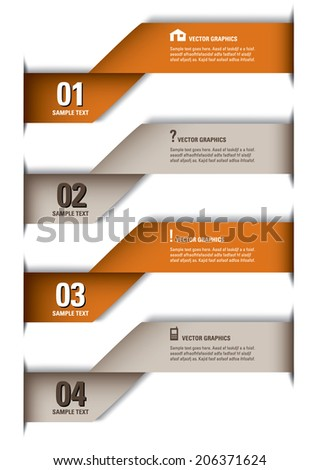 3D Numbered Banners. Eps10 Vector Design.