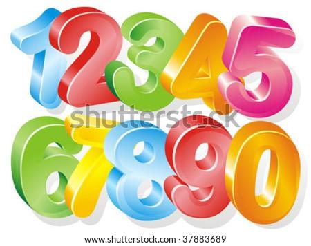 3d numbers - stock vector
