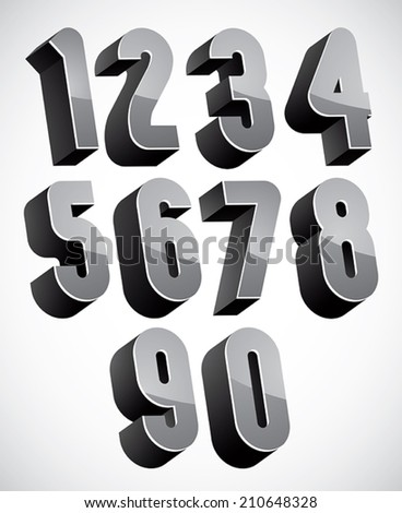 3d numbers set, monochrome glossy numerals for advertising and web design. - stock vector