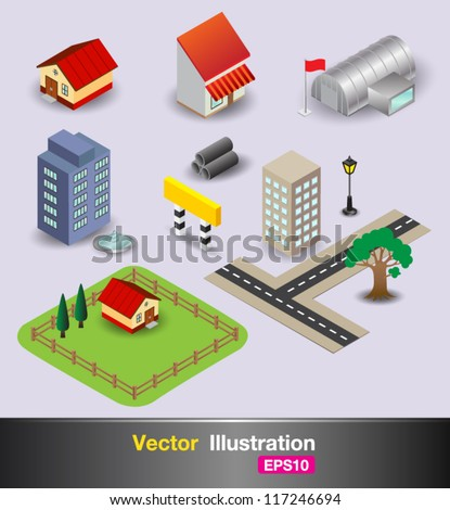 3D object in the city - stock vector