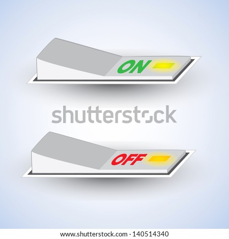 3d On/Off switch on white background with light - stock vector