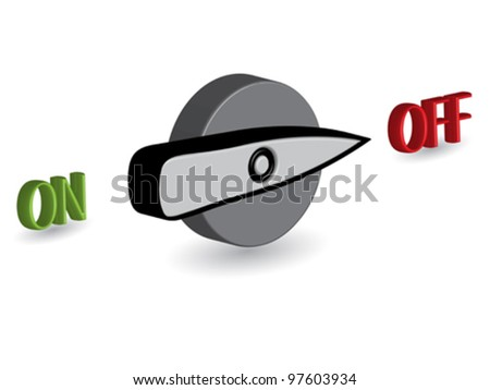 3d on off switches against white background, abstract vector art illustration - stock vector