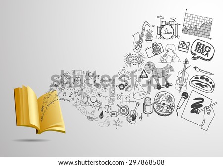 3D open book with flowing educational doodles for background. Ready to use. - stock vector