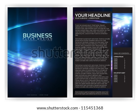 3D Optical Fibers Business Brochure Template | Editable Vector Layout - stock vector